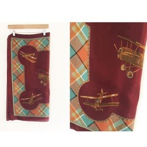 Vintage Plane Aviator Plaid Scarf